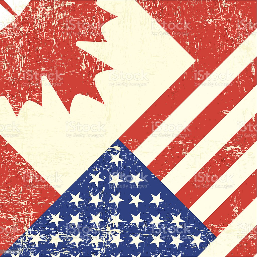 Canadian and american grunge flag vector art illustration
