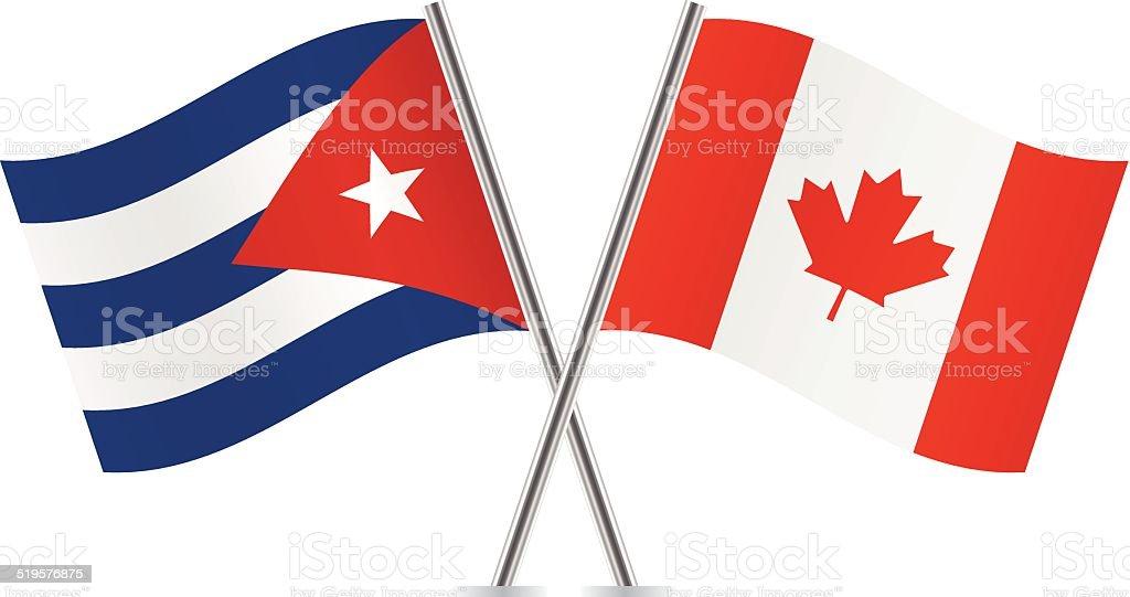 Canadian and Cuban flags. Vector. vector art illustration