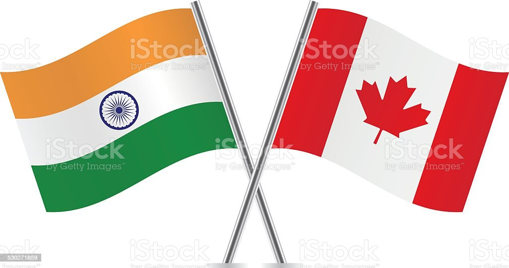Ilustración de Banderas De Canadá Y De La India Vector y más banco ...