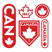 A collection of Canadian badges and crests featuring classic maple leaf icons.
