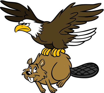 Canadian Beaver And American Eagle
