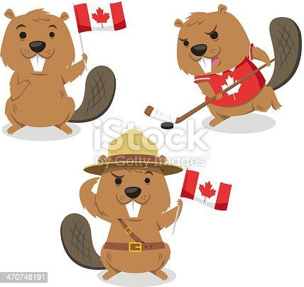 Canadian Beaver holding Canada flag, beaver playing ice jockey, boy scout beaver always ready. Vector illustration cartoon.