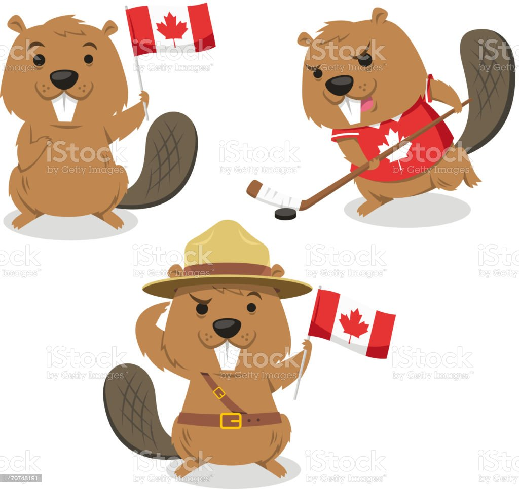 Canadian Beaver holding flag jockey boy scout always ready vector art illustration