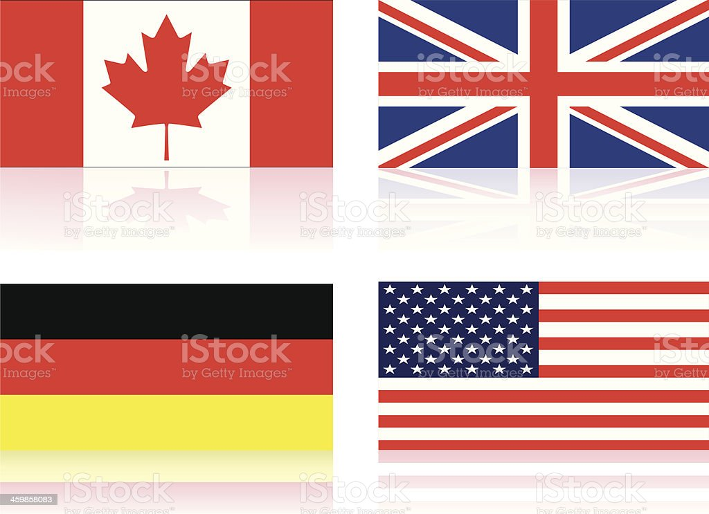 Canadian, British, German, and American flags in a set royalty-free canadian british german and american flags in a set stock vector art & more images of american flag
