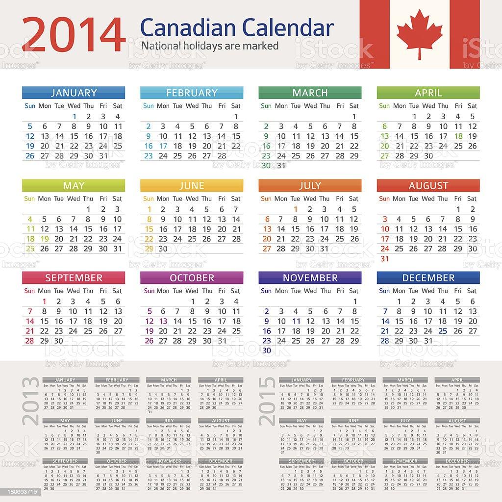 Canadian Calendar 2014 royalty-free stock vector art
