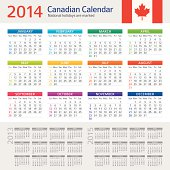 Vector illustration of Canadian Сalendar for 2014 year