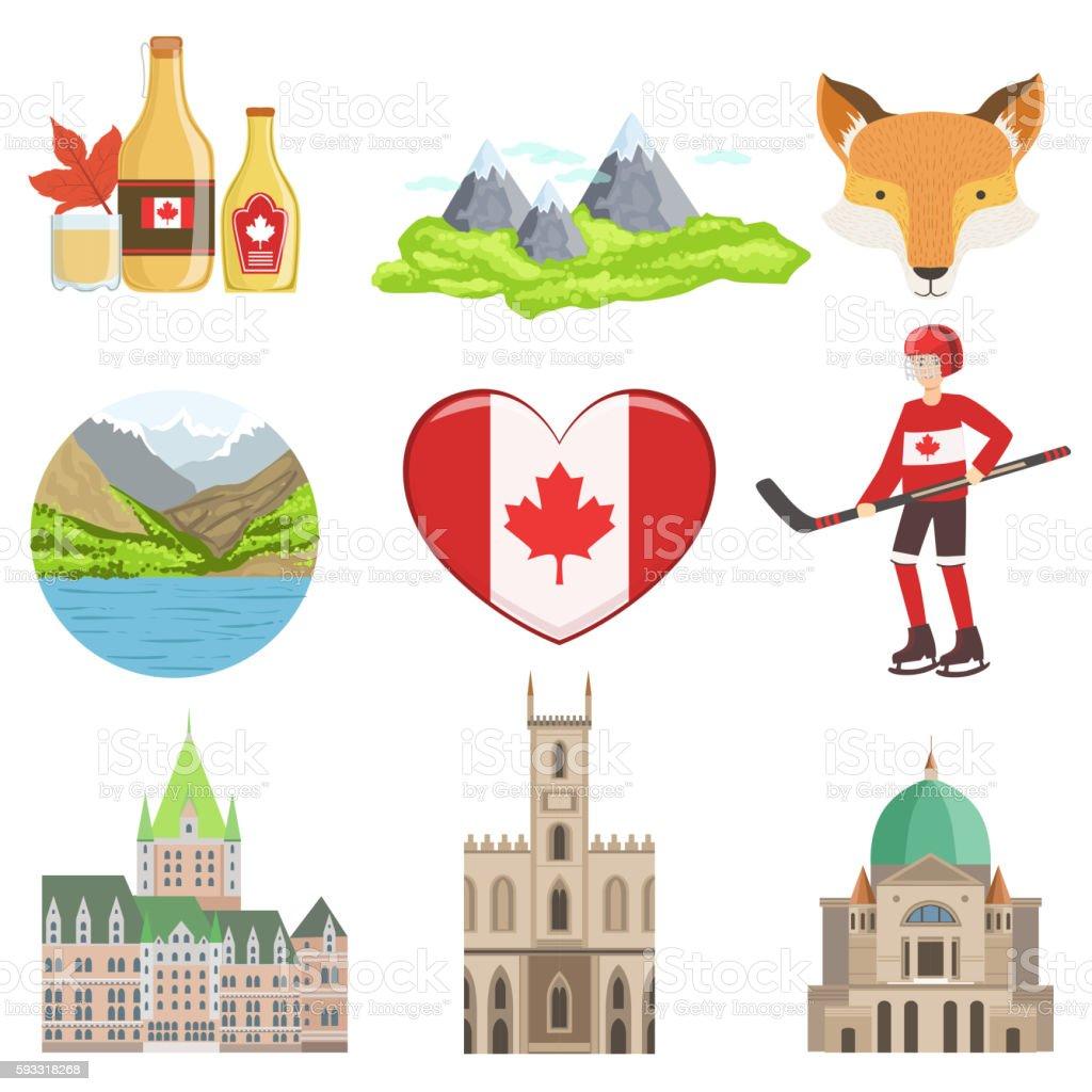 Canadian Culture Symbols Set Stock Vektor Art Und Mehr