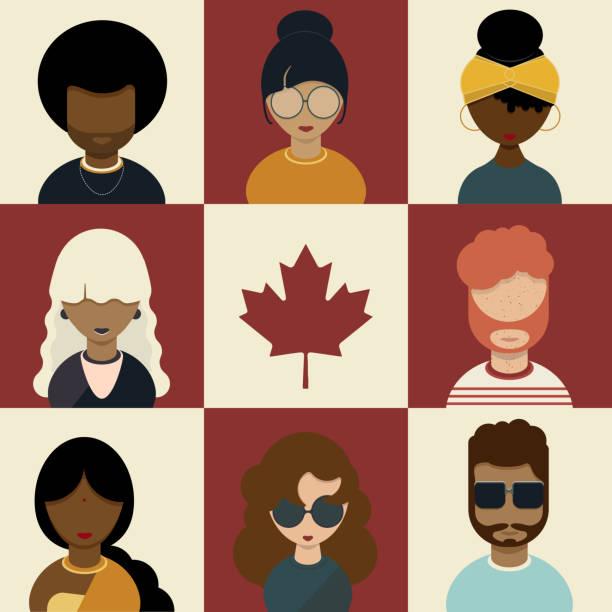 stockillustraties, clipart, cartoons en iconen met canadese diversiteit character set, canada dag en multicultureel concept - curly brown hair