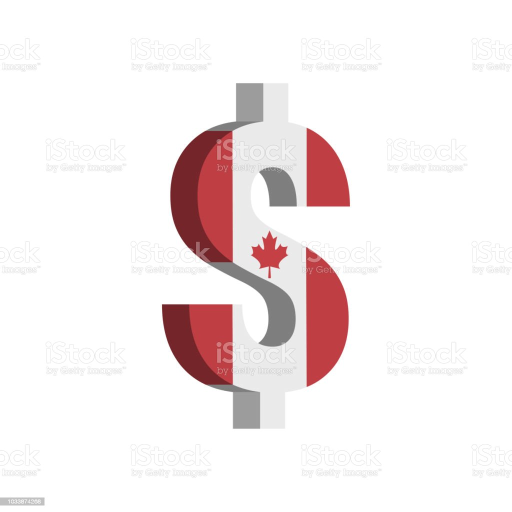 Canadian Dollar Currency Symbol With Flag Vector Stock Vector Art