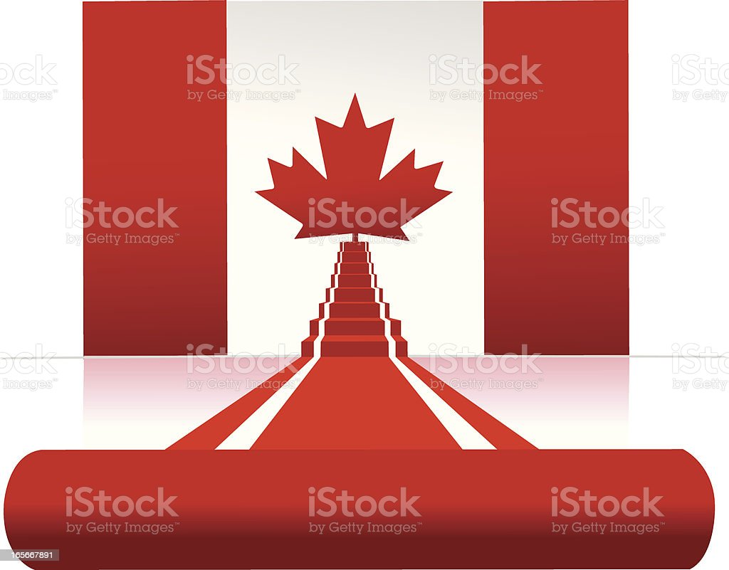 canadian flag and red carpet royalty-free stock vector art