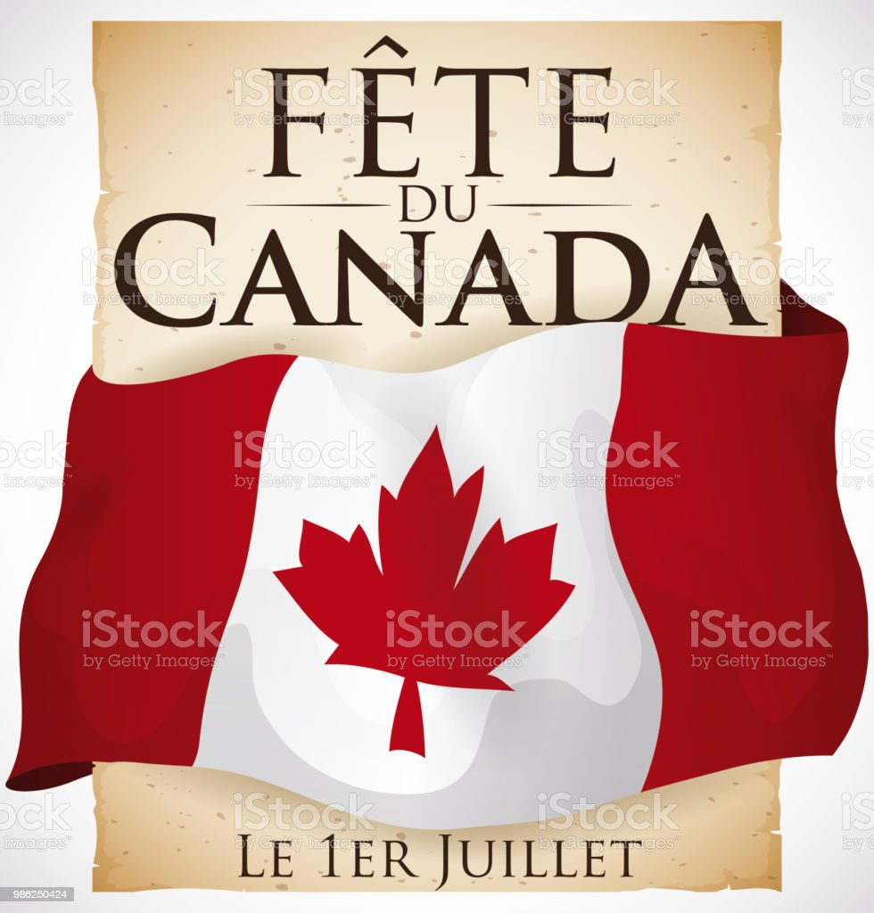Canadian flag covering a scroll with greeting for canada day stock canadian flag covering a scroll with greeting for canada day royalty free canadian flag covering m4hsunfo