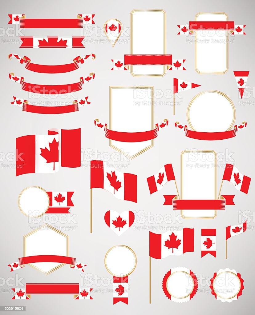 Canadian flag decoration elements. vector art illustration