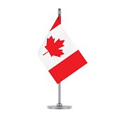 Flag design. Canadian flag hanging on the metallic pole. Isolated template for your designs. Vector illustration.
