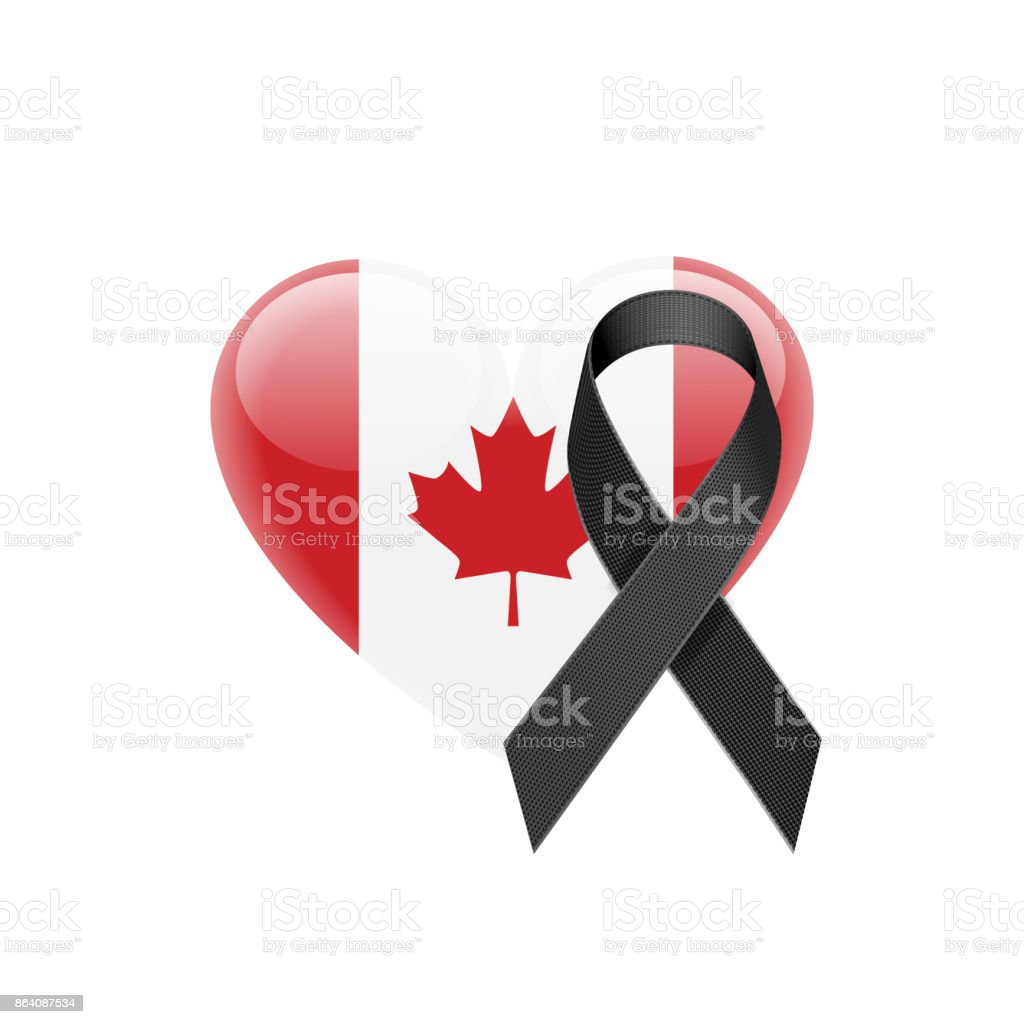 Canadian Flag Heart Icon with Black Ribbon royalty-free canadian flag heart icon with black ribbon stock vector art & more images of art