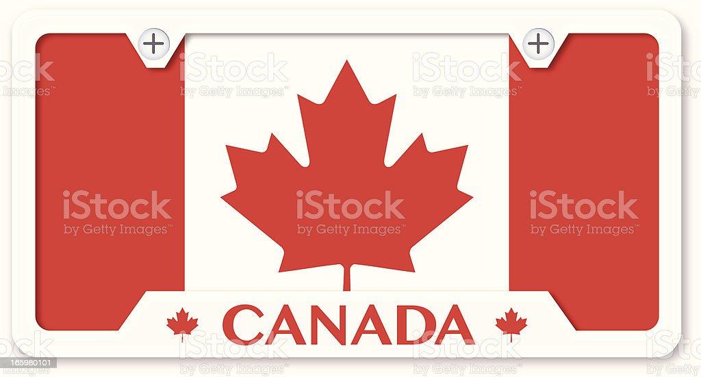 Canadian Flag License Plate With Frame vector art illustration