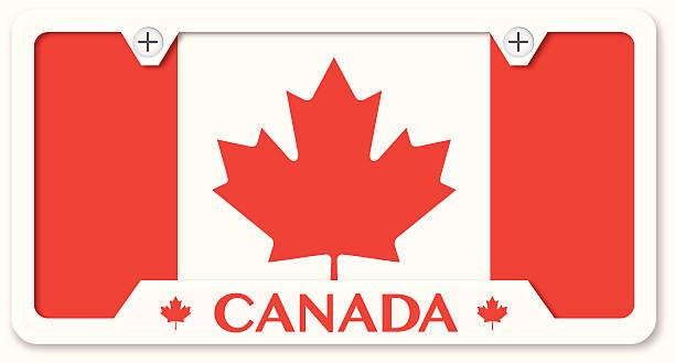 kanadische flagge nummernschild mit rahmen - nummernschilder stock-grafiken, -clipart, -cartoons und -symbole