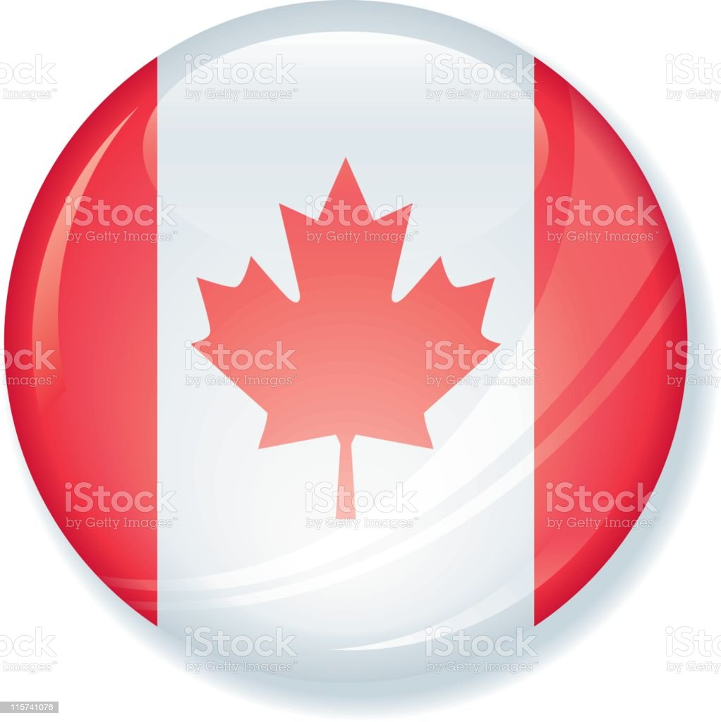 Canadian Flag Super Glossy Button royalty-free stock vector art