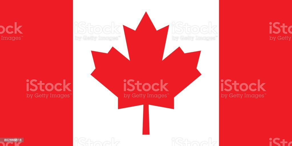 Canadian Flag (Official Colors) vector art illustration