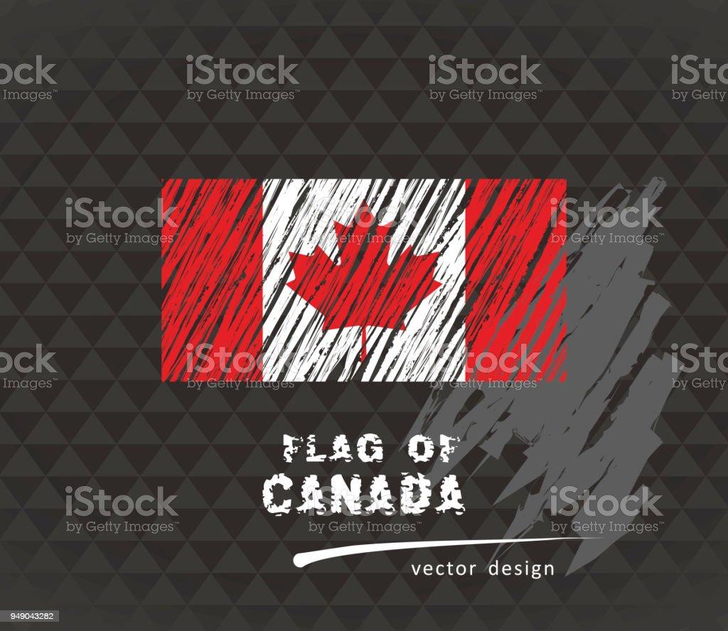 Canadian flag, vector sketch hand drawn illustration on dark grunge background vector art illustration