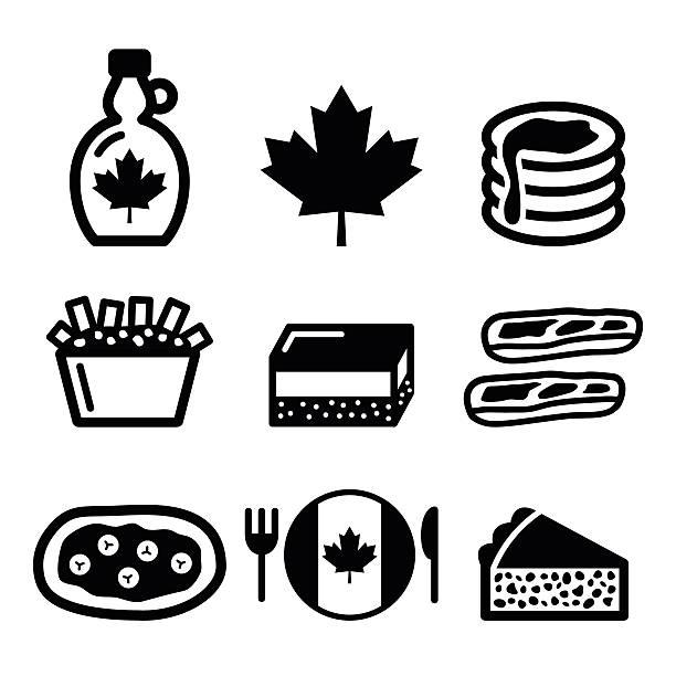 kanadische food-icons - vanillesauce stock-grafiken, -clipart, -cartoons und -symbole