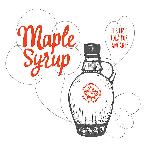 Canadian food in the sketch style. Maple syrup. American traditional products. Vector illustration of ethnic cooking. maple syrup stock illustrations