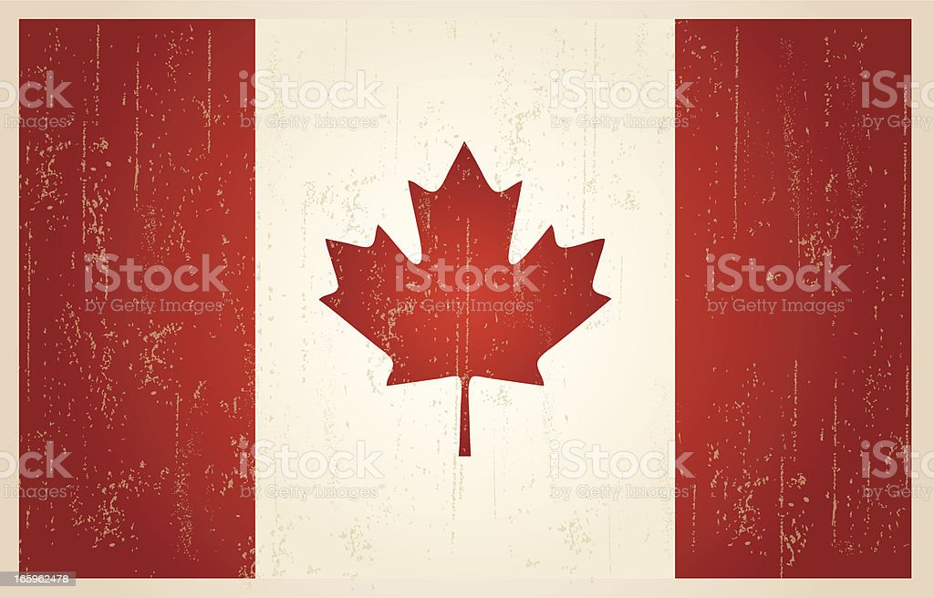 Canadian grunge vintage flag vector art illustration