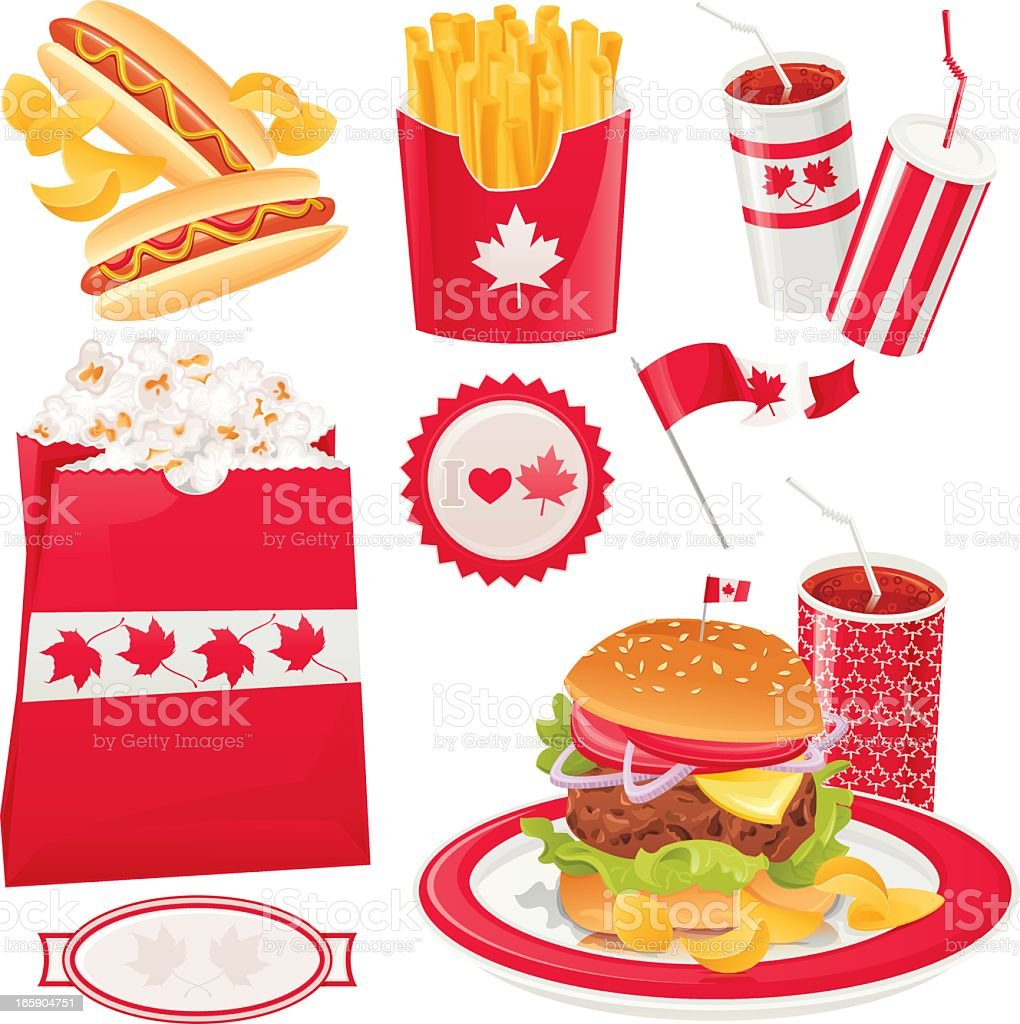 Canadian Holiday Fast Food vector art illustration