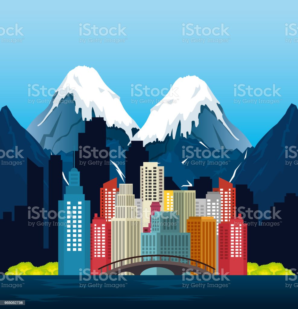 canadian landscape scene and cityscape vector art illustration