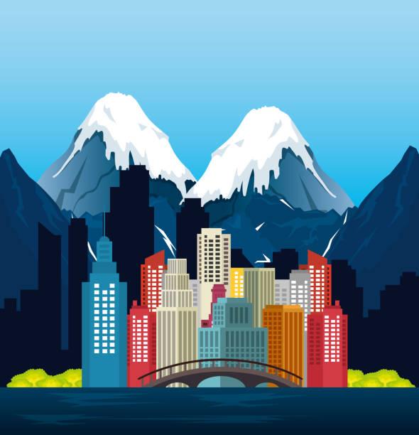 canadian landscape scene and cityscape vector art illustration
