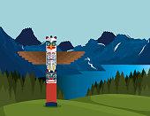 canadian landscape with totem scene icon vector illustration design