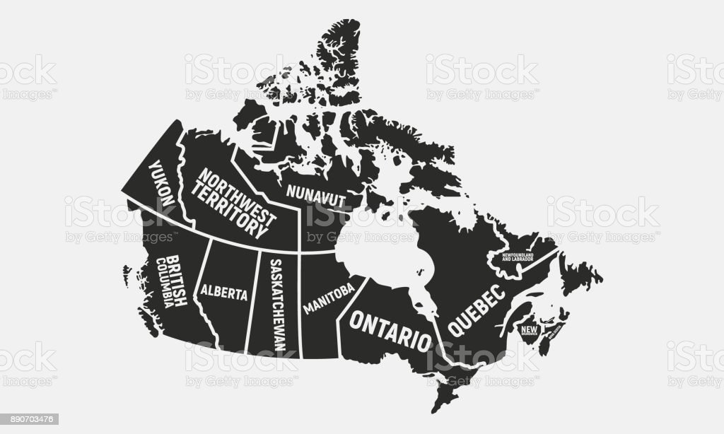 Carte du canadien. Spatiocarte du Canada. Provinces et territoires du Canada. Illustration vectorielle - Illustration vectorielle