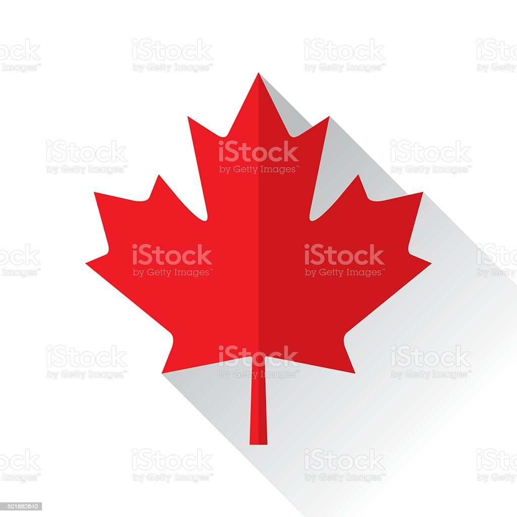 Canadian Maple Leaf Icon Flat Vector illustration of a red canadian maple leaf icon in flat style. 2015 stock vector
