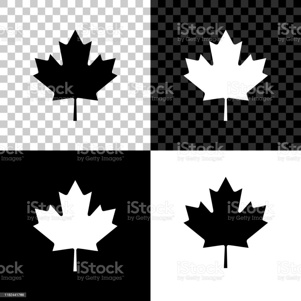 Canadian Maple Leaf Icon Isolated On Black White And