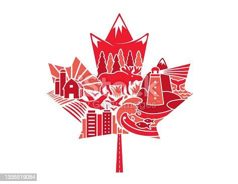 istock Canadian Maple Leaf Mosaic Collage Illustration 1335519084