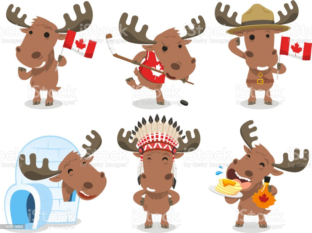 Canadian Moose Canada Mammal Animal Species Icon Culture vector art illustration