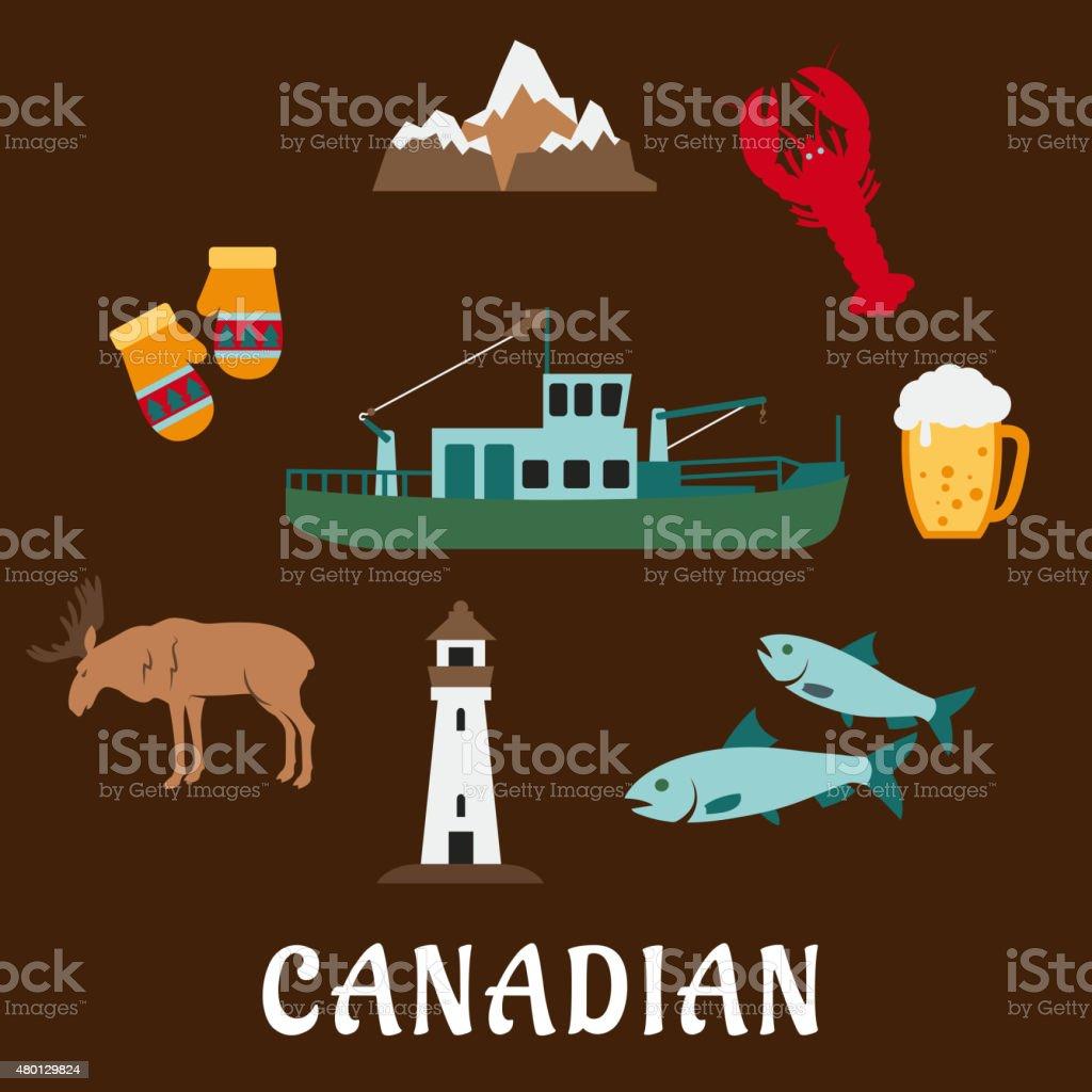 Canadian nature and culture symbols vector art illustration