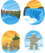 Canadian Nature Landmarks Canada Landmark, with Hopewell Rocks, Canadian Rockies, Canadian Rocky, Niagara Falls vector illustration cartoon.
