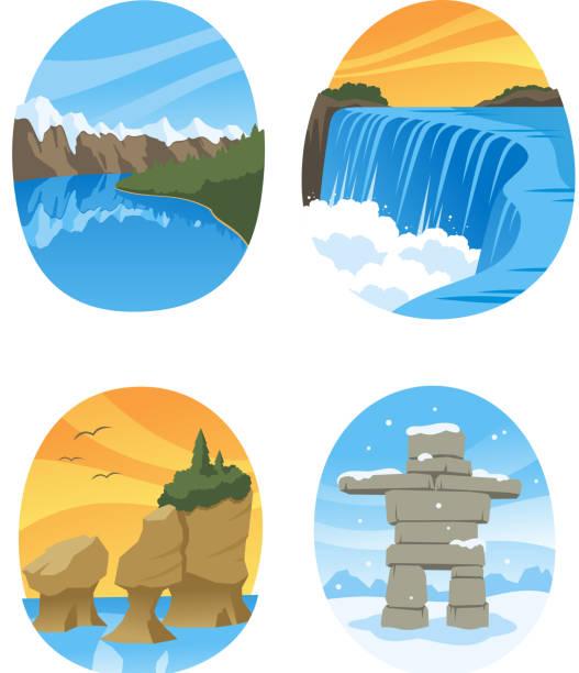 Canadian Nature Landmarks Canada Landmark Canadian Nature Landmarks Canada Landmark, with Hopewell Rocks, Canadian Rockies, Canadian Rocky, Niagara Falls vector illustration cartoon. rock formations stock illustrations