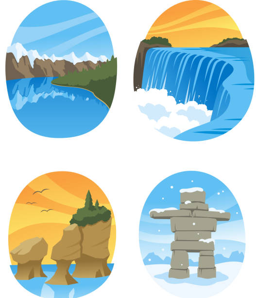 canadian nature landmarks canada landmark - rock formations stock illustrations