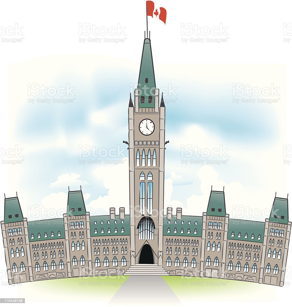 Canadian Parliament Building royalty-free stock vector art