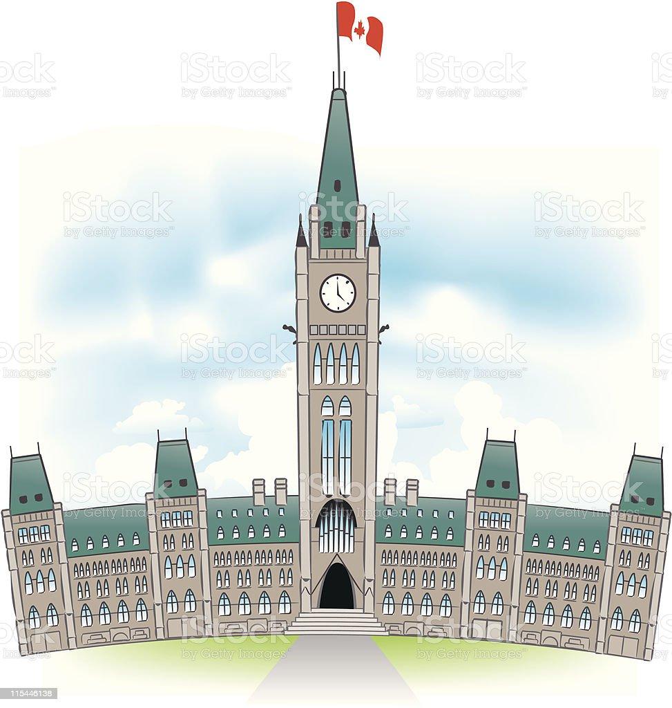Canadian Parliament Building vector art illustration