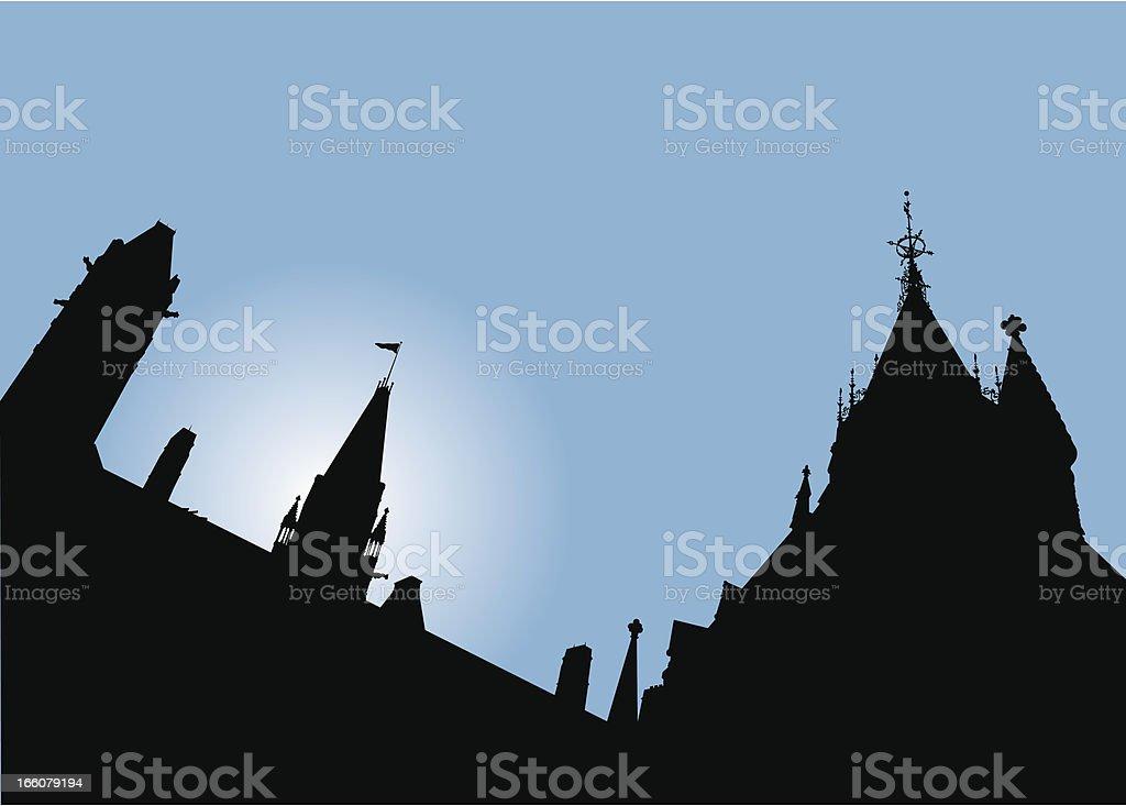 Canadian Parliament Silhouette vector art illustration