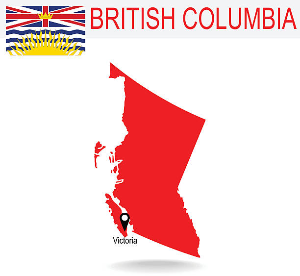 Canadian province of British Columbia map and flag in red vector art illustration