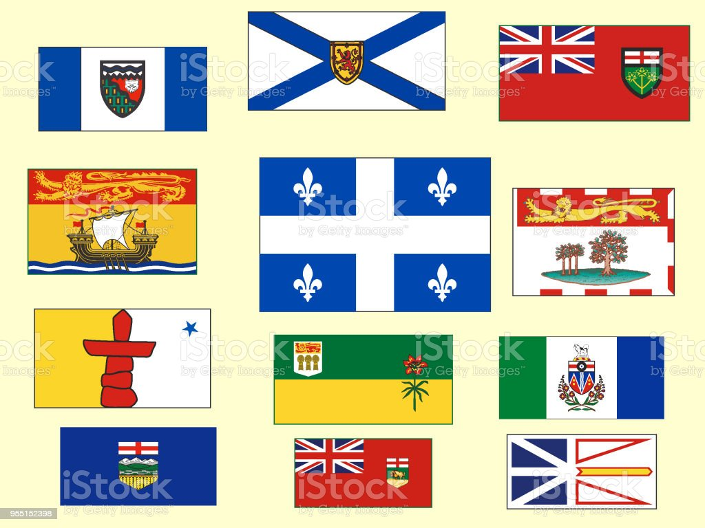 Canadian Provinces and Territories Flags Set vector art illustration