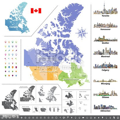 istock Canadian provinces and territories map colored by regions. Map, flag and largest city skylines of Canada. Vector illustration 930273574