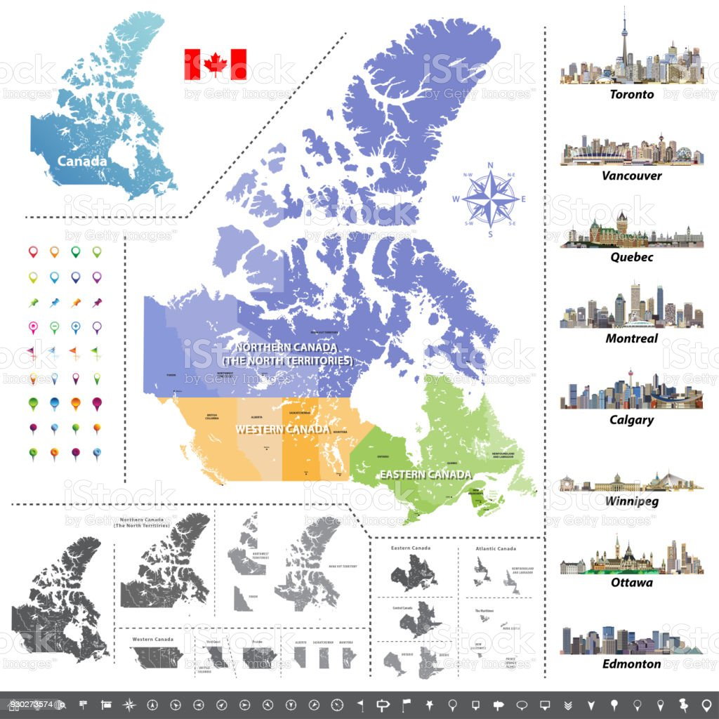 Canadian provinces and territories map colored by regions. Map, flag and largest city skylines of Canada. Vector illustration vector art illustration