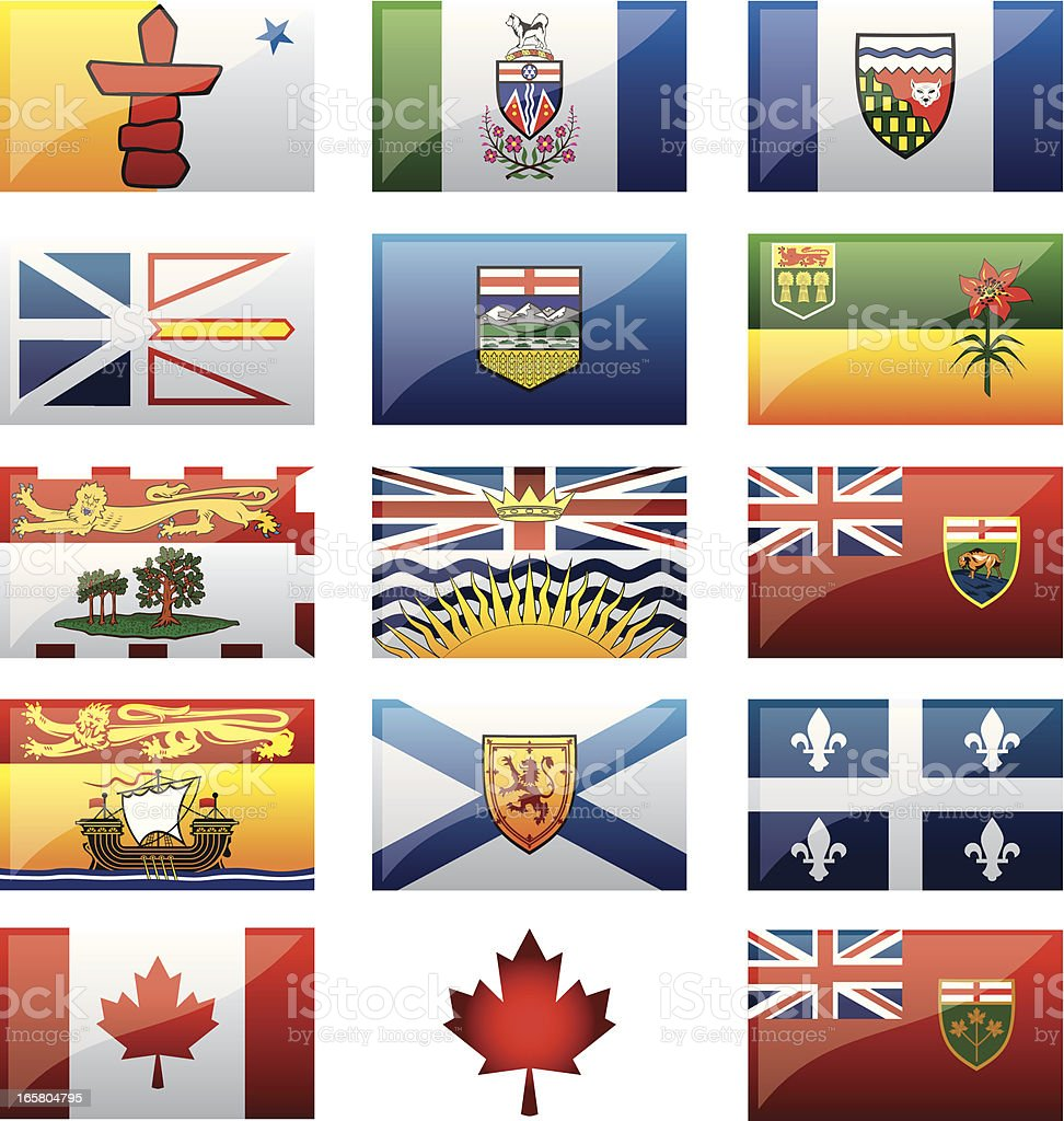 Canadian Provinces Flags vector art illustration