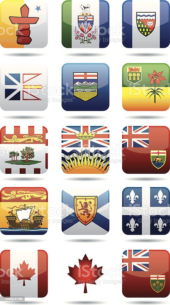 Canadian Provinces flags royalty-free stock vector art