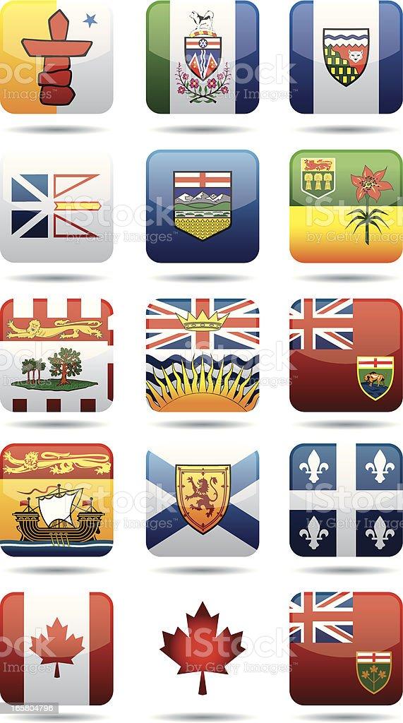 Canadian Provinces flags vector art illustration