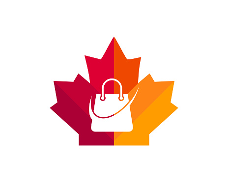 Canadian Shopping logo. Maple leaf with Shopping bag vector